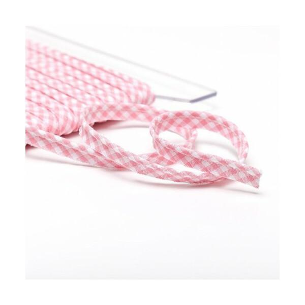 Paspelband Vichy 10 mm, rosa