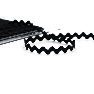 Zackenlitze Baumwolle 12mm, schwarz