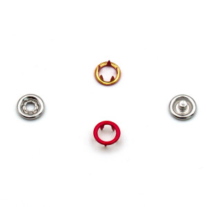 Jersey Druckknöpfe offen rot, 20 Stück, 11 mm