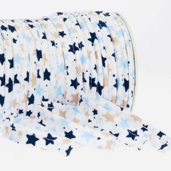 Paspelband Sterne 10 mm, weiß/blau/beige