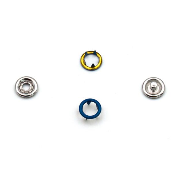 Jersey Druckknöpfe offen blau, 20 Stück, 11 mm