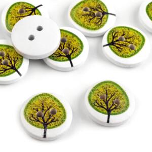 Holzknöpfe Baum 10 Stück, weiß/grün