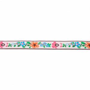 Webband Blumen 13mm, natur/rosa/blau/grün