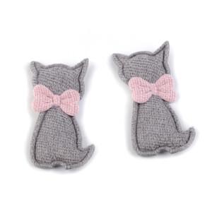Textilapplikation Katze, grau