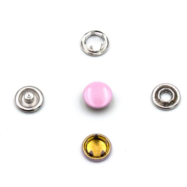 Jersey Druckknöpfe geschlossen rosa, 20 Stück, 11 mm