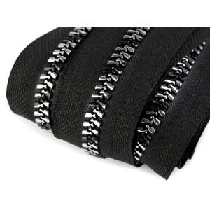 Endlosreißverschluss 8mm, abwechselnd schwarz/silber