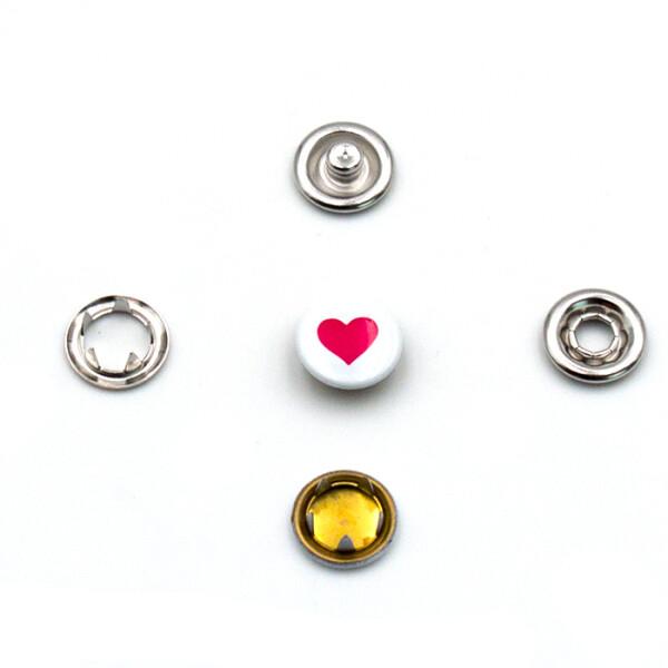 Jersey Druckknöpfe Herz 10 Stück, 11 mm