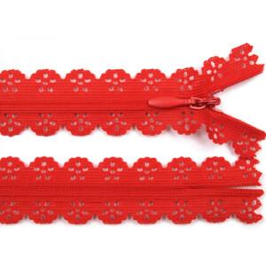 Spitzen Reißverschluss 18cm, rot