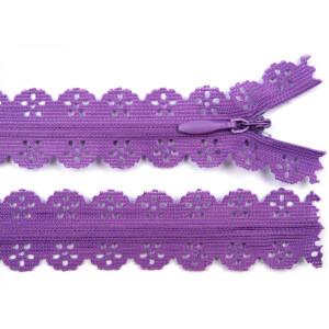 Spitzen Reißverschluss 18cm, lila