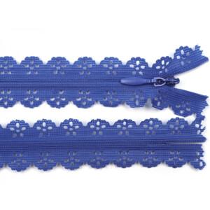 Spitzen Reißverschluss 18cm, blau