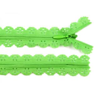 Spitzen Reißverschluss 18cm, lemon