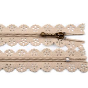 Spitzen Reißverschluss altmessing Schieber 18cm, beige