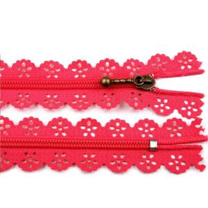 Spitzen Reißverschluss altmessing Schieber 18cm, pink