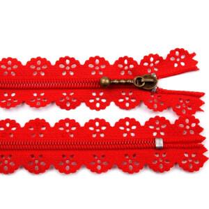 Spitzen Reißverschluss altmessing Schieber 18cm, rot