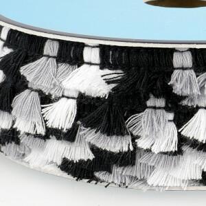 Fransenborte, schwarz/weiß/grau