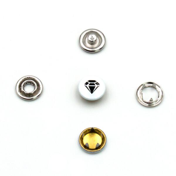 Jersey Druckknöpfe Diamant, 10 Stück, 11 mm