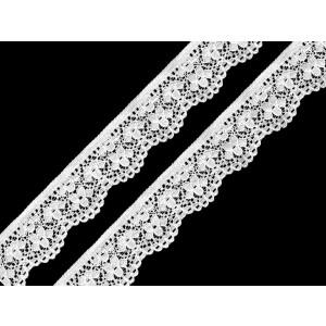 Spitze Blumen elastisch 25mm, weiß