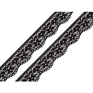 Spitze Blumen elastisch 25mm, schwarz