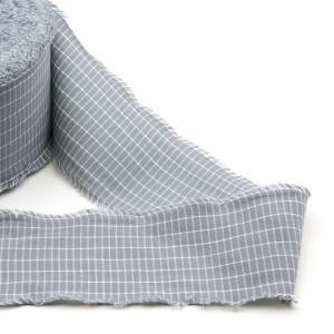 Hanselband mit Kante 80mm, grau/weiß
