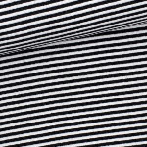 Ringelbündchen 3mm, schwarz/weiß