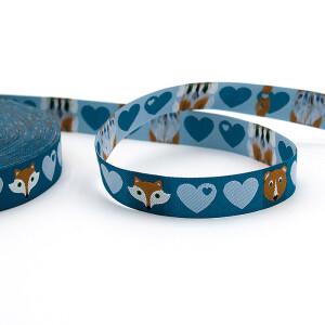 Webband Herzen mit Bär und Fuchs petrol, 15 mm