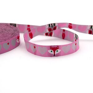 Webband Herzen mit Fuchs in rosa-grau, 15 mm