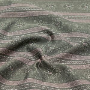 Jacquard Blüten und Streifen, dunkelgrau/zartrosa