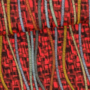 Viskosejersey Crazy Lines, rot/bunt