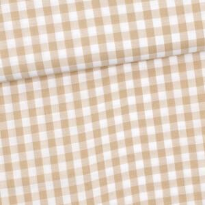 Baumwolle Karo 10mm, beige/weiß