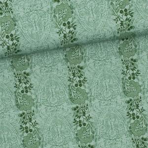 Baumwollstoff Aussee Blumen Streifen, grün