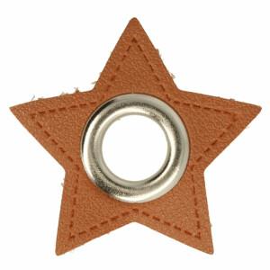 Öse auf Kunstleder Stern 8mm, braun/silber