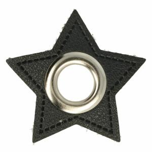 Öse auf Kunstleder Stern 8mm, schwarz/silber