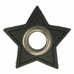 Öse auf Kunstleder Stern 8mm, schwarz/gunmetal
