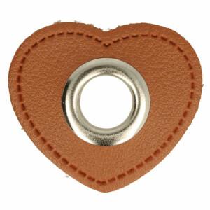 Öse auf Kunstleder Herz 8mm, braun/silber