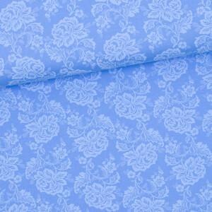 Baumwollstoff Prima Blumen, pastellblau