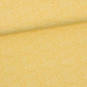 Baumwollstoff Prima Blumen, pastellgelb