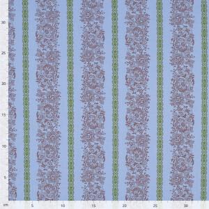 Baumwolle Blumenranken, hellblau