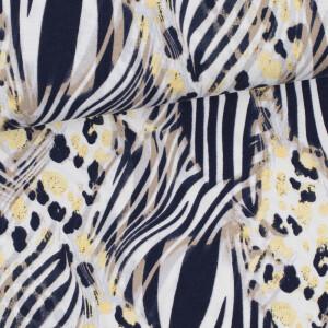 Viskosejersey Animalprint, offwhite/dunkelblau/gelb