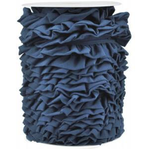 Jerseyvolant Rüsche 30mm, jeansblau