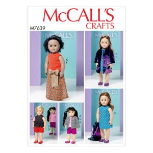 Puppenkleidung, McCalls 7639 Gr. Alle Größen
