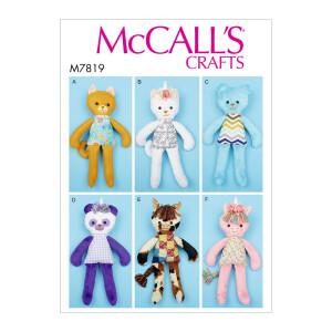6 verschiedene Stofftiere, McCalls 7819 Gr. Alle...