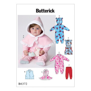 Baby Umhang Weste Hose, Butterick 6372 Gr. 71-102
