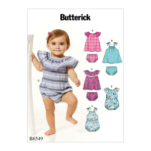 Kleinkind Strampler Hose Kleid, Butterick 6549 Gr. 46-81