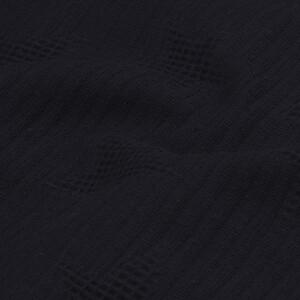 Waffelpique Jacquard Sterne, schwarz