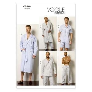 Schlafmantel/Gürtel/Top/Shorts/Hose, Vogue 8964