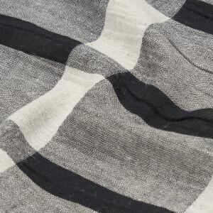 Baumwoll Leinen Karo, beige/schwarz
