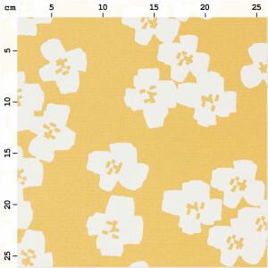 Baumwolle beschichtet Blumen, senfgelb/weiß