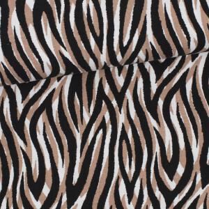 Jersey Viskosekrepp Animal, weiß/schwarz/sand