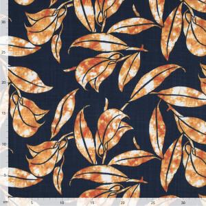 Jersey Viskosekrepp Leaves, navy/rost