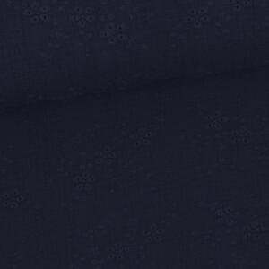 Musselin Stickerei Blumen, dunkelblau